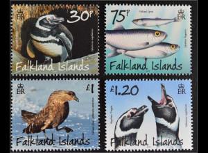 Falkland-Inseln 2015 Michel Nr. 1278-81 Tiere Fauna Vögel Pinguine Fische