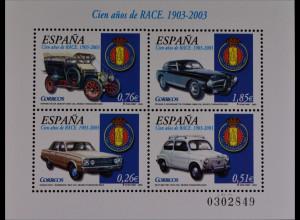 Spanien Spain 2003, Block 118, 100 Jahre Königlich Spanischer Automobilclub RACE