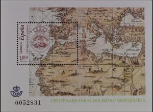 Spanien Spain 2003, Block 120, 100 Jahre Königliche Geographische Gesellschaft