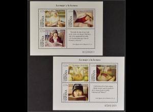 Spanien Spain España 2004, Block 133-34, Die Frau und die Lektüre, 2 Blocks