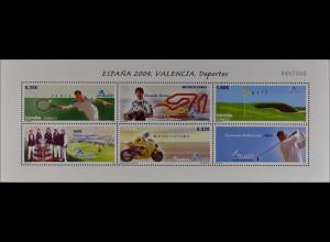 Spanien Spain España 2004, Block 141, Tennis, Motorradsport und Golf