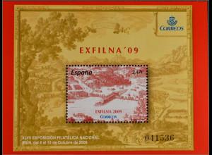 Spanien Spain España 2009, Block 187, Briefmarkenausstellung EXFILNA '09, Irún