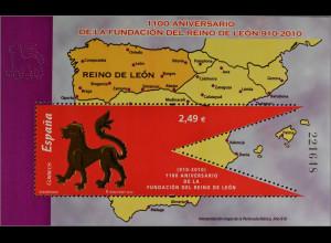 Spanien Spain España 2010, Block 193, Jahrestag der Gründung Königreich León