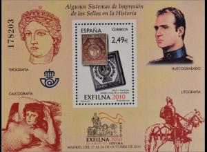Spanien España 2010, Block 201, Nat. Briefmarkenausstellung EXFILNA '10, Madrid