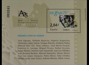 """Spanien Spain España 2011, Block 207, Spanisches Kino: 25 Jahre Filmpreis """"Goya"""""""