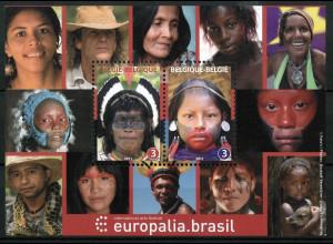 Belgien 2011 Block 164 Europäischen Kulturfestival Brüssel Ureinwohner Brasilien