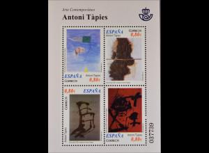 Spanien España 2011, Block 212, Zeitgenössische Kunst: Gemälde von Antoni Tàpies