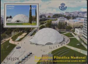 Spanien España 2011, Block 215, Briefmarkenausstellung EXFILNA '11, Valladolid