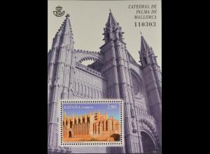 Spanien España 2012, Block 226, Kathedralen, von Palma de Mallorca, geweiht 1601