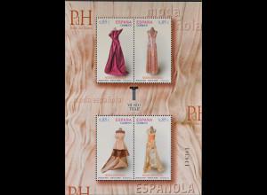 Spanien Spain España 2012, Block 227, Spanische Mode, Spitzenkleid, Satinkleid