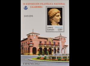 Spanien España 2012, Block 228, Briefmarkenausstellung EXFILNA '12, Calahorra