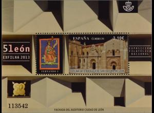 Spanien España 2013, Block 242, Nat. Briefmarkenausstellung EXFILNA '13, León