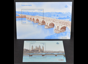 Spanien España 2013, Block-Paar 243-244, Spanische Brücken, Saragossa und Mérida