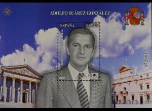 Spanien Spain España 2013, Block 248, Adolfo Suárez, Politiker Ministerpräsident
