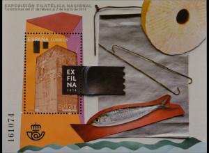 Spanien España 2014, Block 249, Briefmarkenausstellung EXFILNA '14, Torremolinos