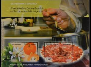 Spanien España 2014, Block 252, Gastronomie; Mandarinen und Iberischer Schinken