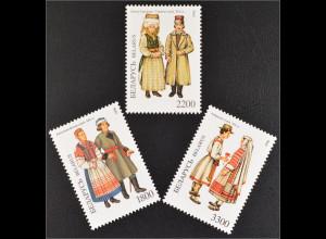 Weißrussland Belarus 1996 Michel Nr. 154-56 Trachten der Regionen