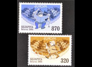 Weißrussland Belarus 2004 MiNr. 543-44 Europa Ferien Pilzsammler Angler