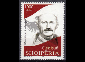 Albanien 2014 Michel Nr. 3485 90. Todestag Todestag Elez Isufi