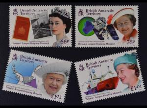 Britische Antarktis BAT 2015 Nr. 687-90 Elizabeth II., längste Regierungszeit