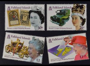 Falkland-Inseln 2015 Michel Nr. 1282-85 Elizabeth II. längste Regierungszeit