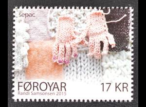 Färöer 2015 Michel Nr. 841 SEPAC Strickkunst Handarbeit Handschuhe