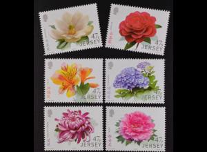 Jersey 2015, Michel Nr. 1962-67, Gartenblumen, Magnolie, Kamelie, Chines. Azalee