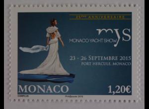 Monako Monaco 2015, Michel Nr. 3256, 25 Jahre Monaco Jacht Show, Port Hercule