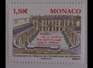 Monako Monaco 2015, Michel Nr. 3257, 300 J. Allianz zwischen Grimaldis, Matignon