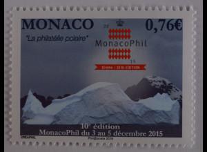 Monako Monaco 2015, Michel Nr. 3254, Monacophil, Briefmarkenausstellung