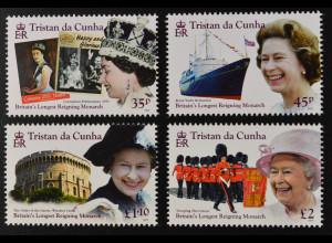 Tristan da Cunha 2015 Nr. 1206-09 Elisabeth II. Längste Regierungszeit