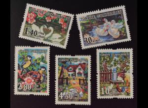 Türkei Turkey 2015 Michel Nr. 4194-98 Kunsthandwerk Gobelin Stickereien