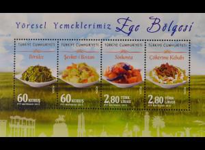 Türkei Turkey 2015 Block 137 Türkische Speisen Ege Bölgesi Sínkonta