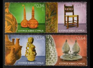 Zypern griechisch Cyprus 2015, Michel Nr. 1334-37, Volkskunst, Keramik, Vase
