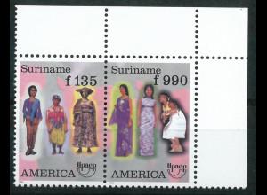 Surinam Michel Nr. 1565-66 Amerika Trachten 1996 Zusammendruck