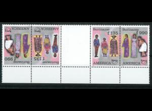 Surinam Michel Nr. 1565-66 ZD Amerika Trachten 1996 Zwischenstegpaar