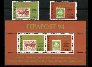 Surinam Michel Nr. 1493-94 und Block 63 Briefmarkenausstellung 1994