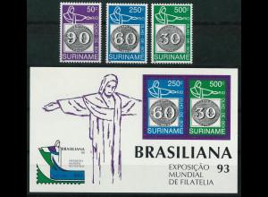 Surinam Michel Nr. 1450-52 und Block 60 1993