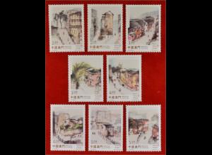 China Macau Macao 2015 Nr. 1990-97 Alte Straßen und Gassen Gemälde