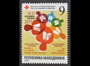 Makedonien Macedonia 2015 Nr. 170 Zwangszuschlag Rotes Kreuz TBC