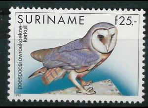 Surinam Michel Nr. 1429 Freimarke Vögel Gelbbauchkreischeule 1993