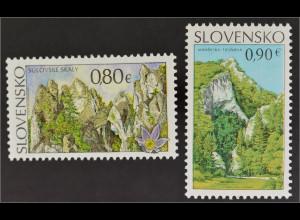 Slowakei Slovakia 2015 Michel Nr. 769-70 Schönheiten des Landes Manin Gorge