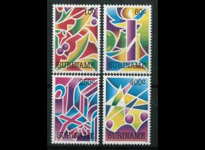 Surinam Michel Nr. 1422-25 kpl. Satz Motiv Weihnachten 1992