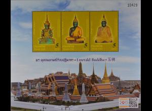 Thailand 2015 Block 334 I Smaragd Buddha Blockausgabe Überdruck Singapore 2015