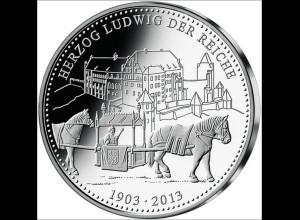 Landshuter Hochzeit 2013 Medaille in Silber Durchm. 36 mm Sonderprägung Landshut