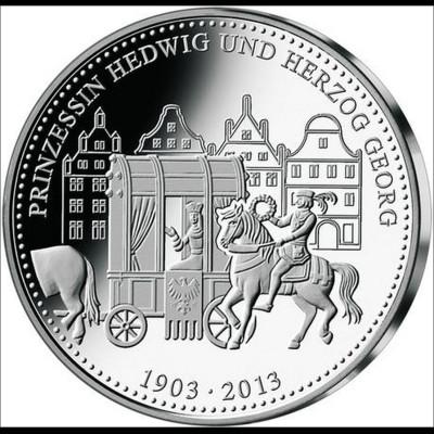 Landshuter Hochzeit 2013 Medaille in Silber 36 mm Sonderprägung Landshut