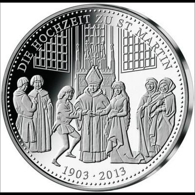 Landshuter Hochzeit 2013 Medaille Silber 36 mm Sonderprägung Hochzeit St. Martin