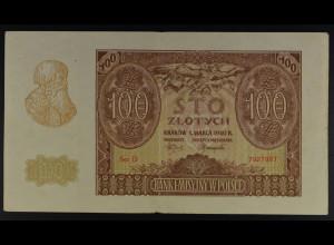 Deutsche Bes.Generalgouvernement, 1.3.1940, Emissionsbanknote 100 Zloty, Ro. 577