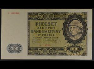 Deutsche Bes.Generalgouvernement, 1.3.1940, Emissionsbanknote 500 Zloty, Ro. 578