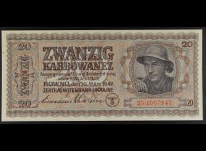 Deu.Besetz. II. WK UKRAINE, 10.3.1942 Zentralbanknote 20 Karbowanez, Ro. 595 b